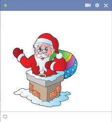 Santa Claus In A Chimney - Emoticon For Facebook