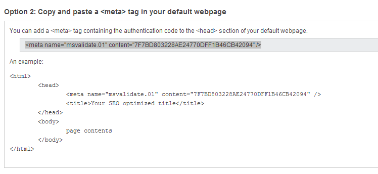 Verify Site On Bing Webmaster Tools