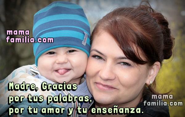 linda tarjeta de mamá con hijo frases agradecimiento