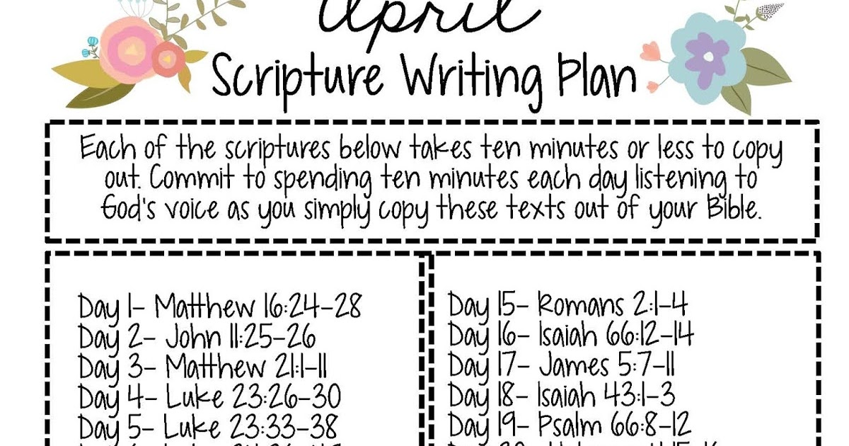 Sweet Blessings: April Scripture Writing Plan 2016