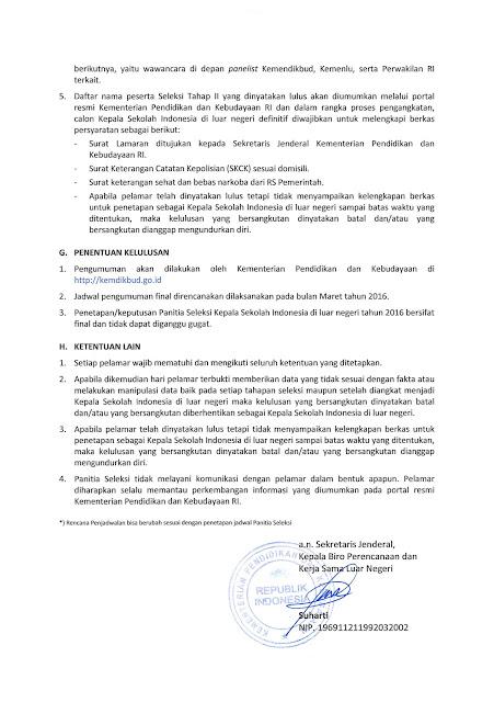 Pengumuman Seleksi Penerimaan Calon Kepala Sekolah Indonesia di Luar Negeri Kemendikbud RI Tahun Anggaran 2017