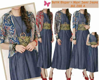 Model Long Dress Batik Kombinasi Blazer modern