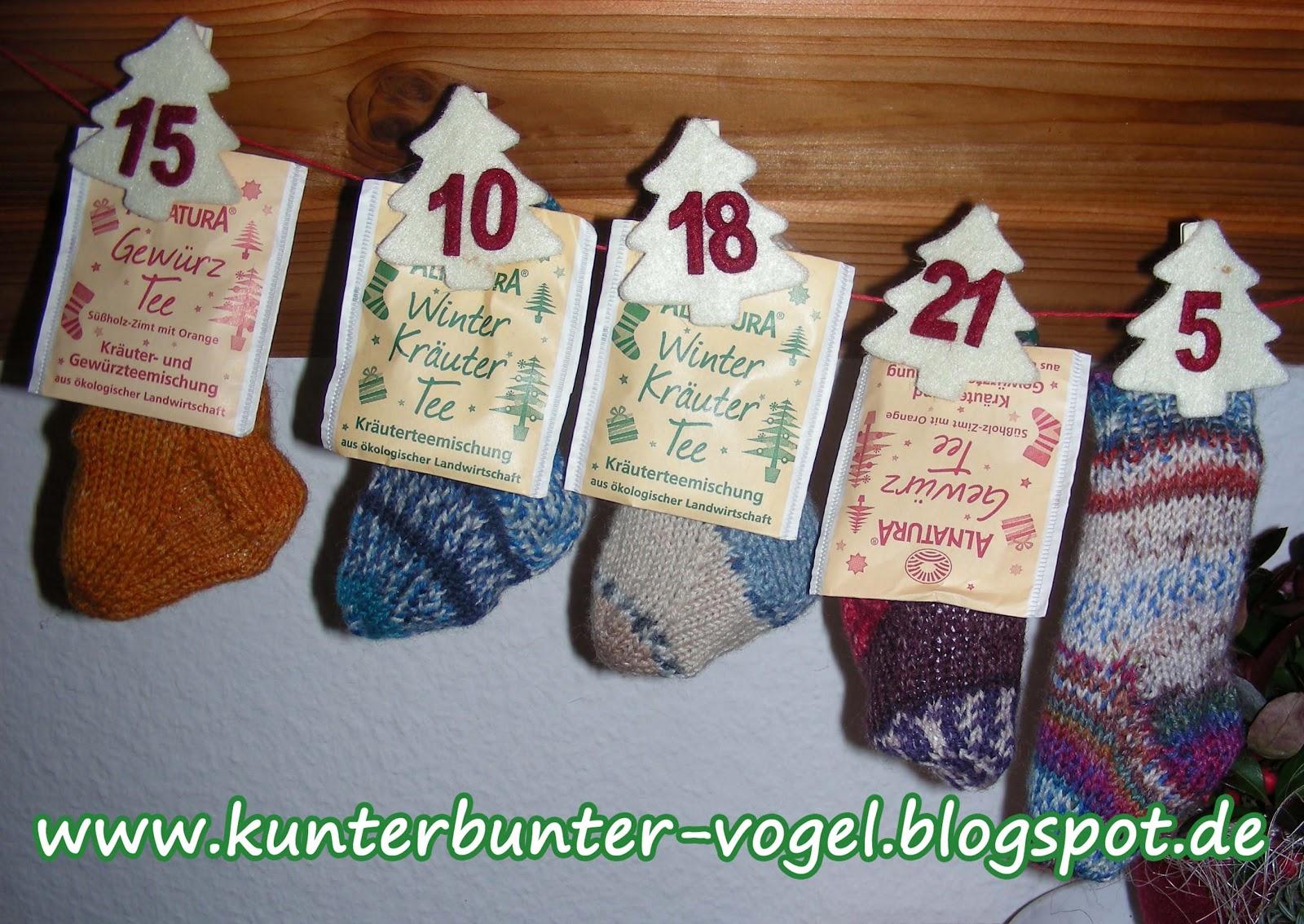 Kunterbunter Vogel Socken Adventskalender