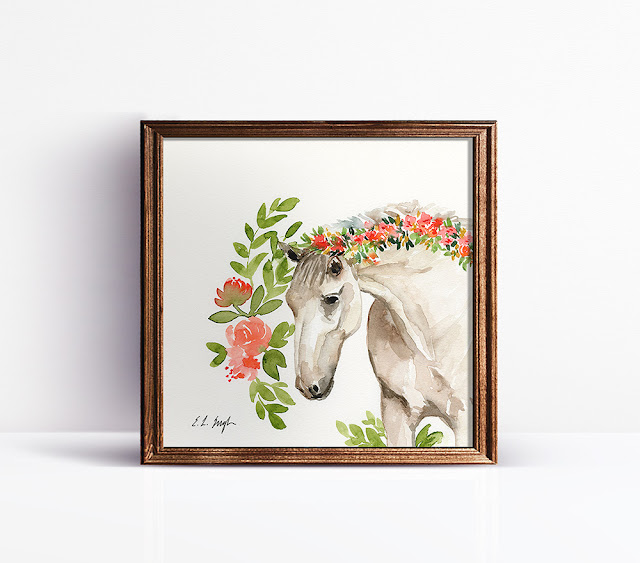 Watercolor Horse with Flowers