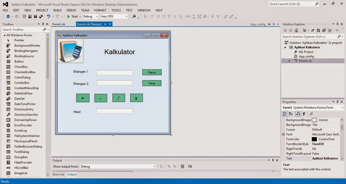 8 - Tutorial Menciptakan Kalkulator Dengan Visual Studio 2012