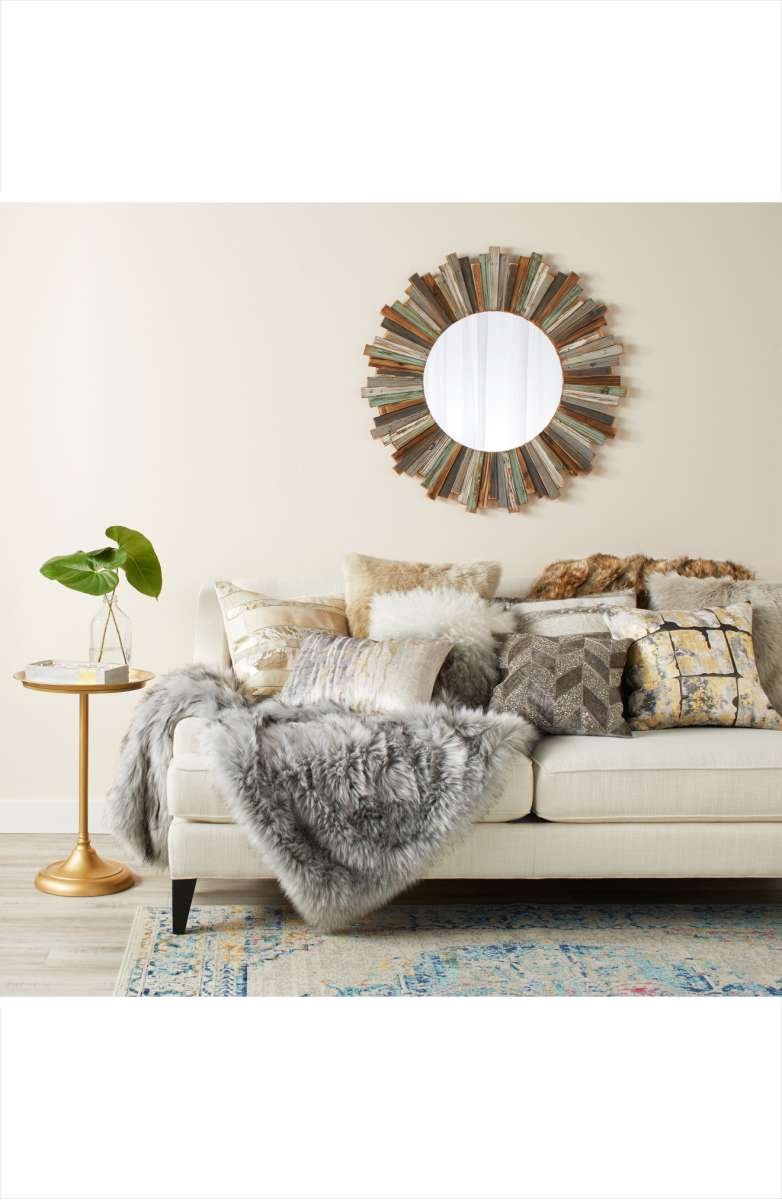 contemporary living room with fur throw