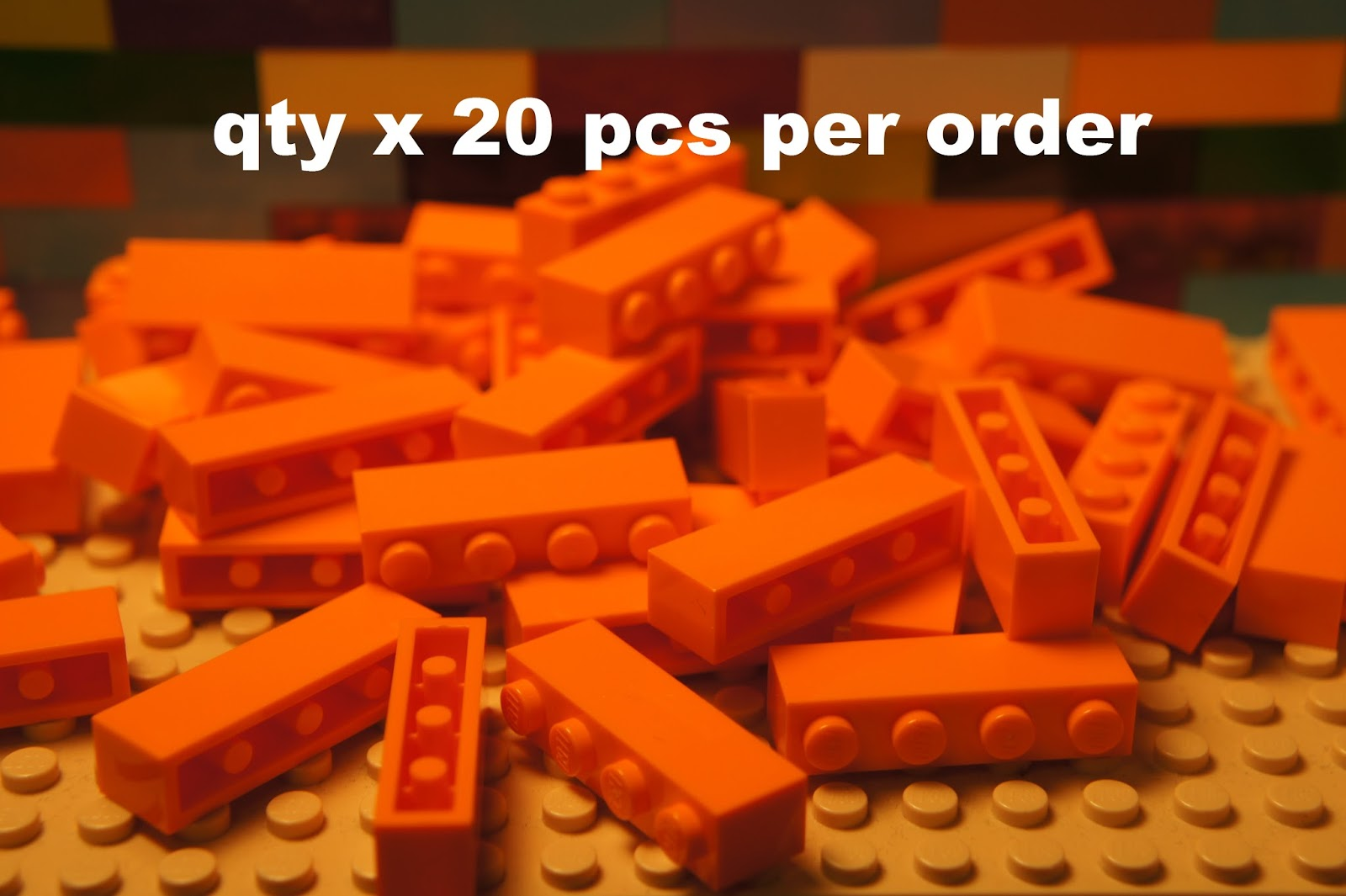 LEGO 3010 Bricks 1x4 Yellow Pack of 100 Parts Pieces City