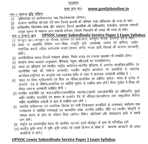 UPSSSC Lower Subordinate Service Paper 1 Exam Syllabus
