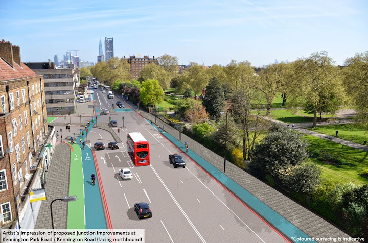 TFL illustration of new arrangements for Northbound traffic on Kennington Park Road