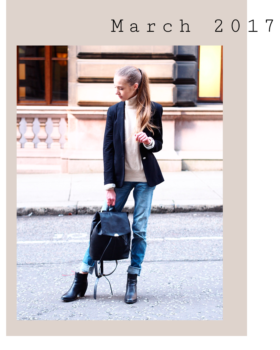 Outfit with turtleneck jumper, blazer and jeans - Asu pooloneuleen, bleiserin ja farkkujen kanssa