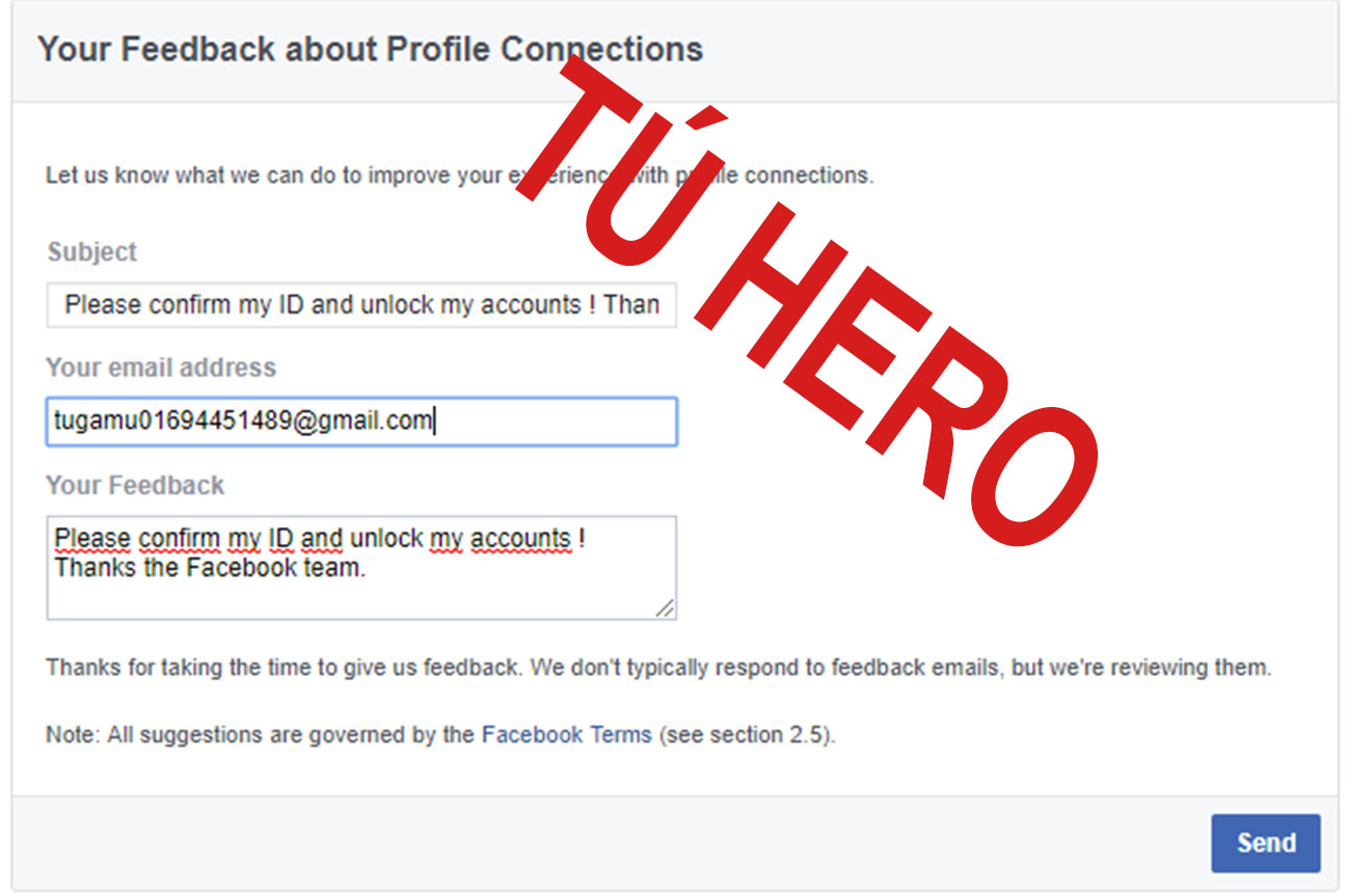 Thanks the Facebook team. -Dòng 2: Nhập EMAIL -DÒng 3: Please confirm my ID and unlock my accounts ! Thanks the Facebook team.
