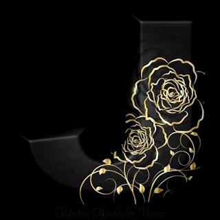 Abecedario Negro con Rosas en Dorado. Golden Roses in Black Alphabet.