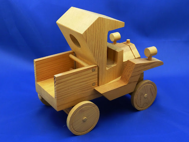 Right Rear - Handmade Wooden Toy Truck - Norm Marshall Model T Pickup Truck - Version 2