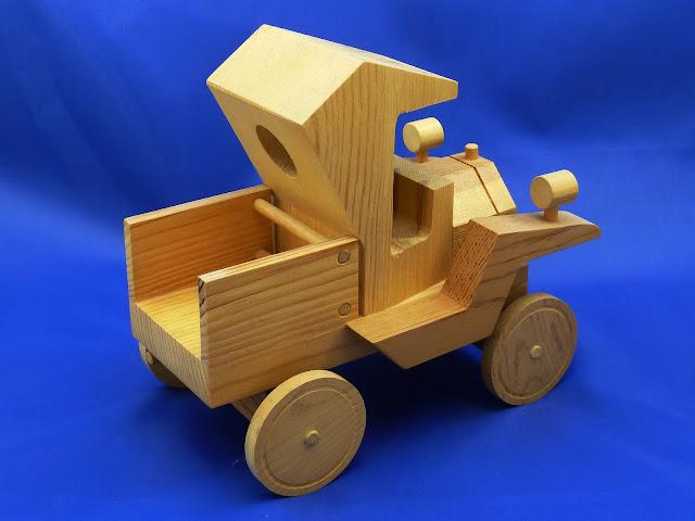 Right Rear - Handmade Wooden Toy Truck - Norm Marshall Model T Pickup Truck - Version 2