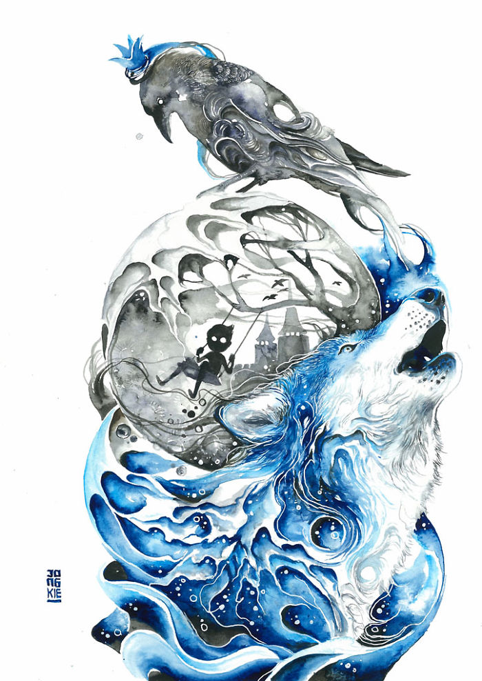 06-Lonely-Luqman Reza jongkie-Painting-Fantasy-worlds-with-Flowing-Watercolor-Animals-www-designstack-co