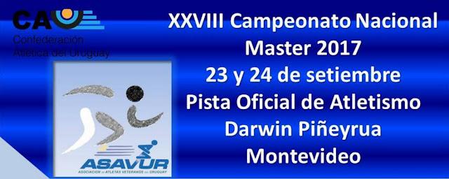 Pista - Campeonato uruguayo de atletismo master (Montevideo, 23y24/sep/2017)
