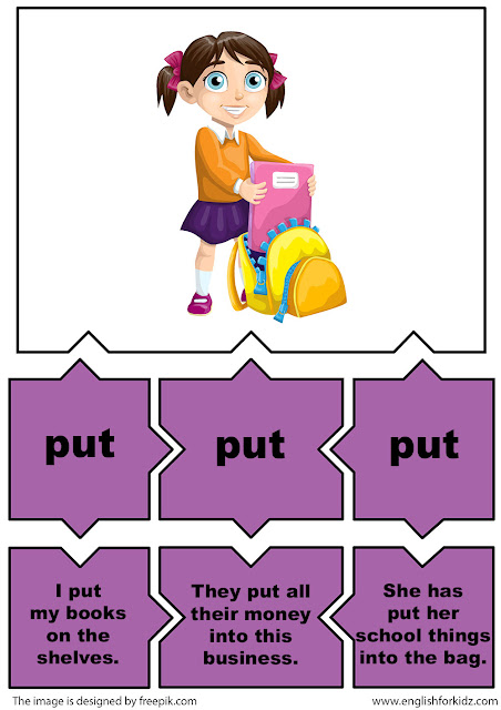esl irregular verbs puzzle flashcards, verb put