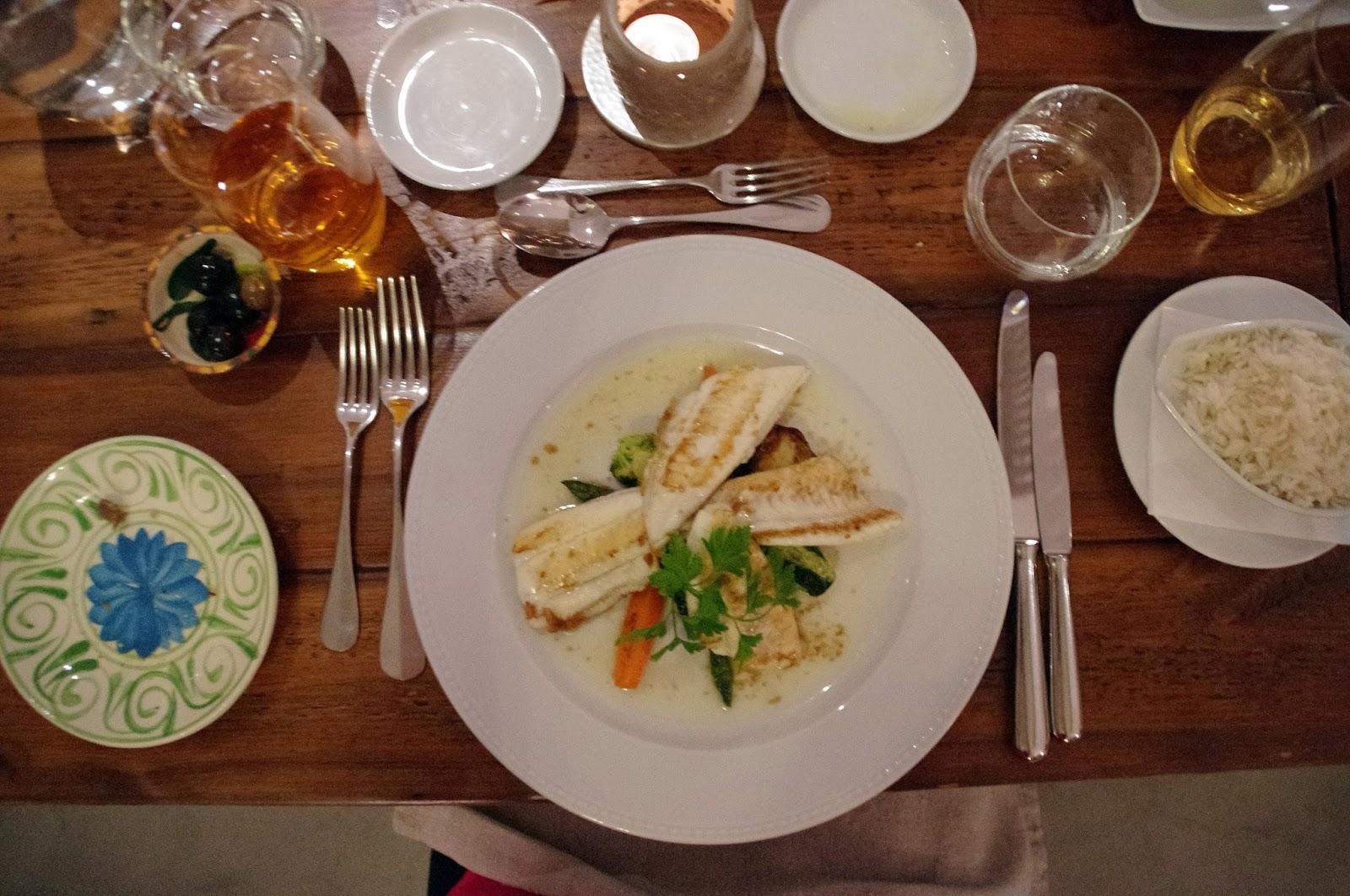 Seafood dinner at Fazenda Nova Country House