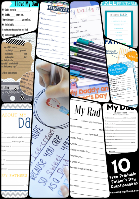 10 free Printable Father's Day Survey for Kids to complete