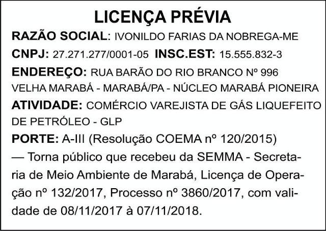 LICENÇA PRÉVIA - IVONILDO FARIAS DA NOBREGA - MARABÁ/PA