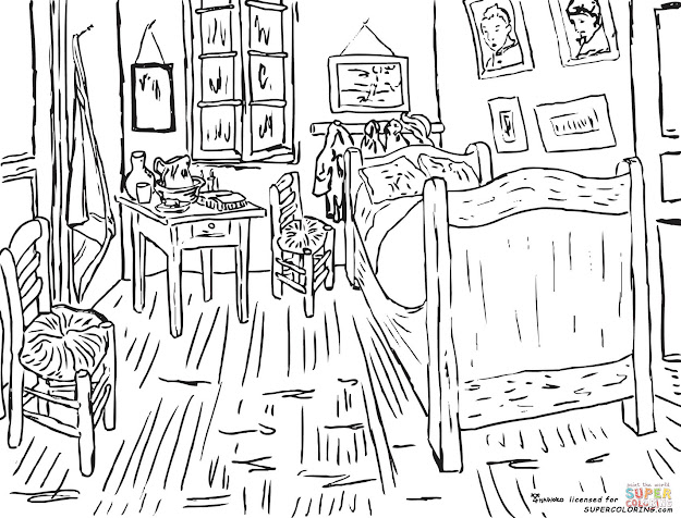 Click The Bedroom At Arles By Vincent Van Gogh Coloring Pages