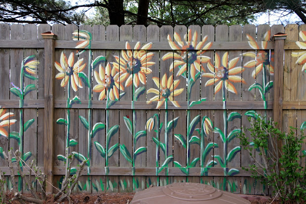 Word Weaver Art Sunflower Mural Fence #2