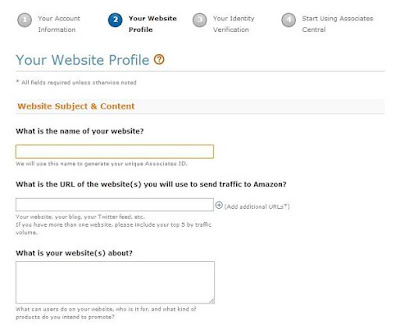Web Site Details in Amazon Associates Registration
