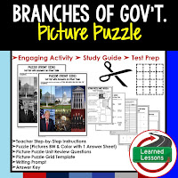Branches of Government, Civics Test Prep, Civics Test Review, Civics Study Guide, Civics Interactive Notebook Inserts, Civics Picture Puzzles