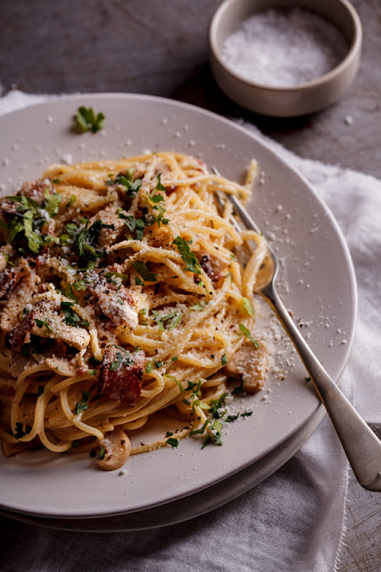 spaggetti mushroom and bacon recipe