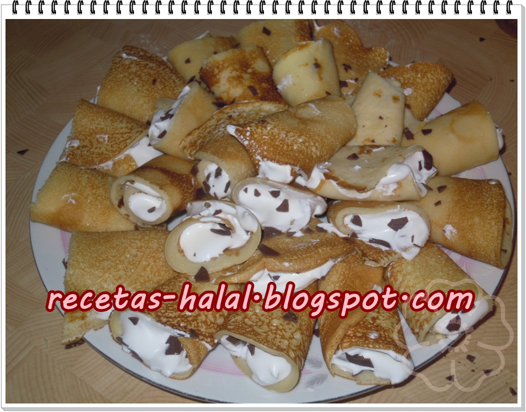 Mi rinconcillo de cocina halal: Crepes rellenos con nata.