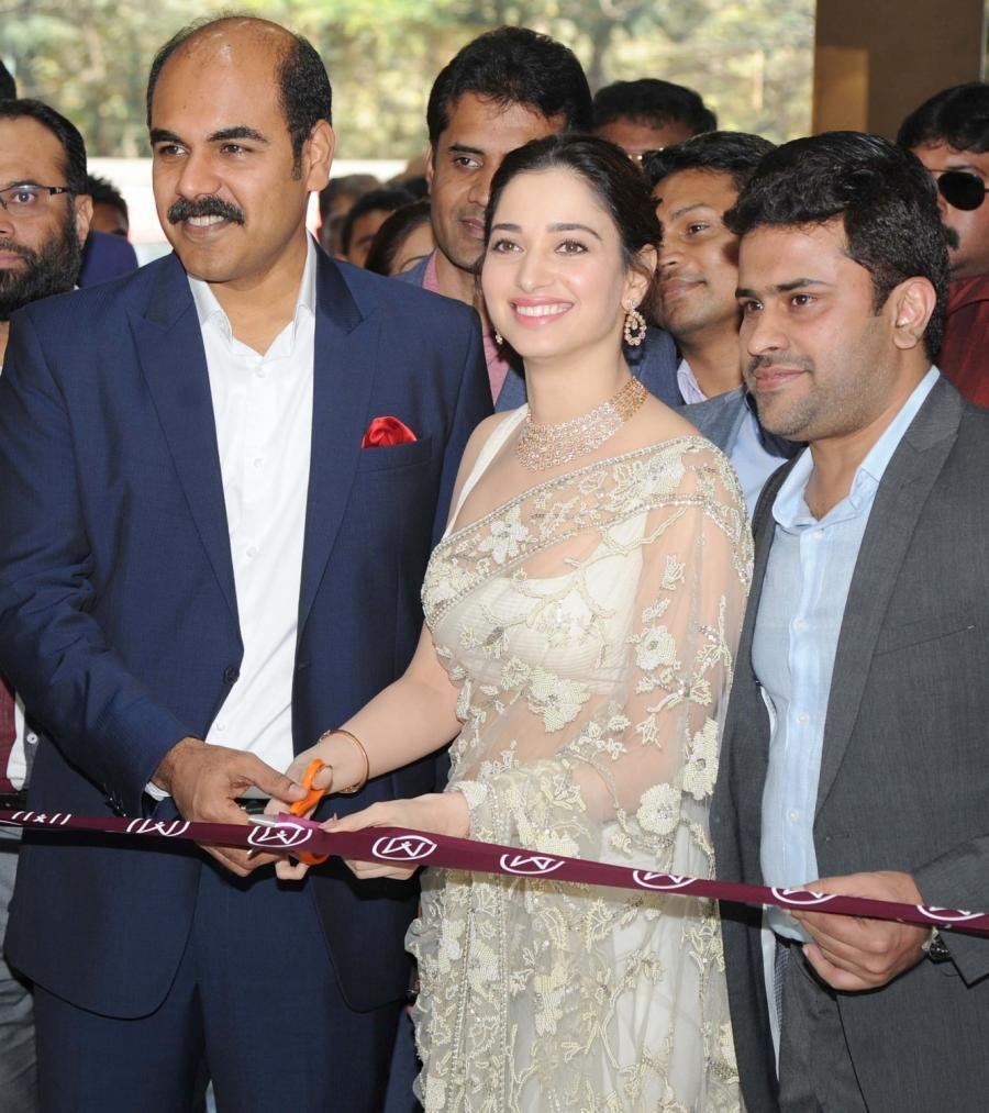 Tamannaah Stills In White Saree Inaugurates Jewellery