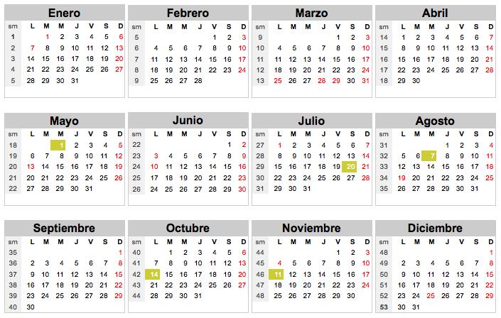 Calendario 18.Calendario 1993 Colombia Festivos