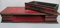 4332 HP Wood Box With Drawer Red with Flowers-drawer removed