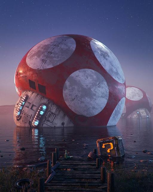 キティちゃんの廃墟?ゲームやキャラクターの廃墟のイラスト【a】 キノコの宇宙船の廃墟