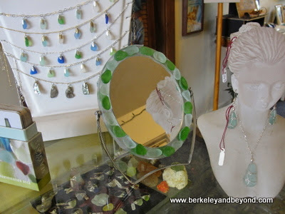 sea glass jewelery at Sea Glass Museum in Fort Bragg, California