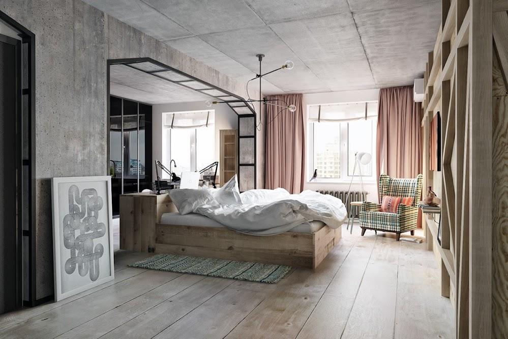 wooden-floor-concrete-wall-industrial-bedroom