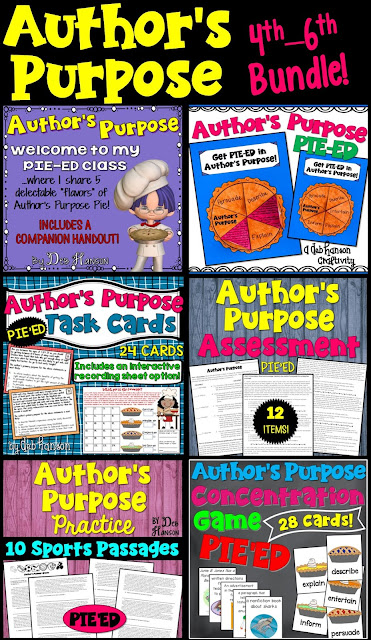 Author's Purpose Bundle- This bundle contains reading activities related to helping your students identify the author's purpose for writing a text. Lesson plans are included, as well. This was designed for 4th, 5th, and 6th grade classrooms.