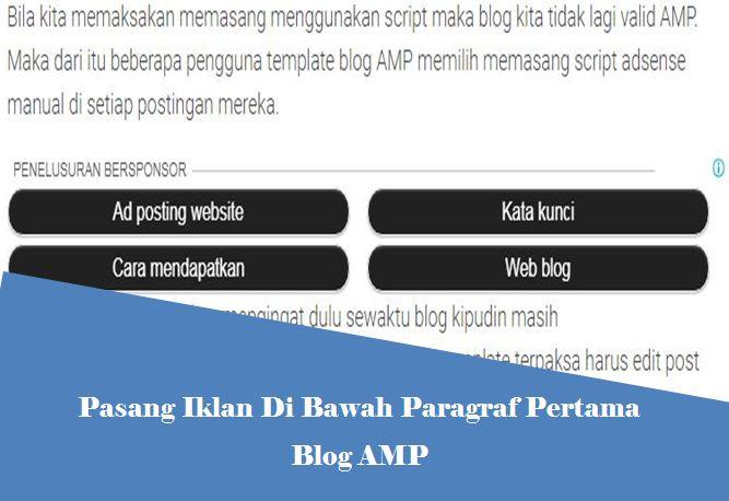 gagal saat pasang iklan di bawah paragraf pertama blog amp