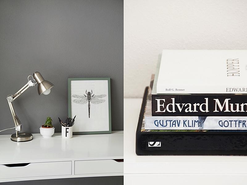 Schlichte Sommerdeko im Urban Jungle Stil auf dem weißen Schreibtisch mit Sukkulente und der Kommode mit Bildbänden
