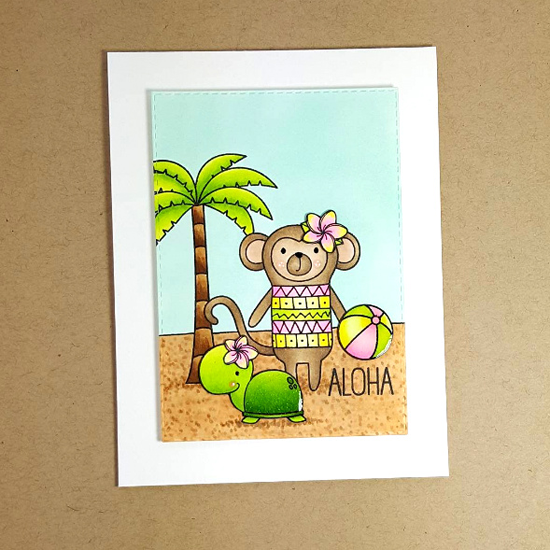Cheeky Monkey, Birdie Brown Penguins in Paradise, and Polynesian Paradise stamp sets - Nikki Foraker #mftstamps