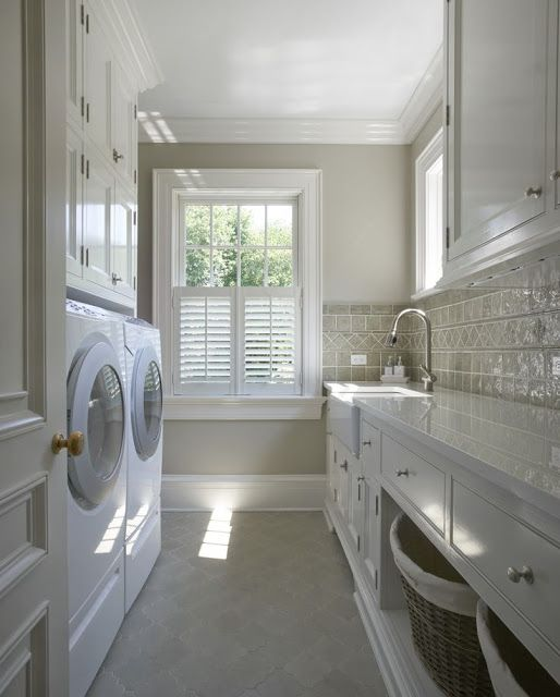 Simple and neutral laundry room with modern farmhouse charm