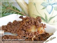 Crumble poires chocolat sans gluten sans lactose