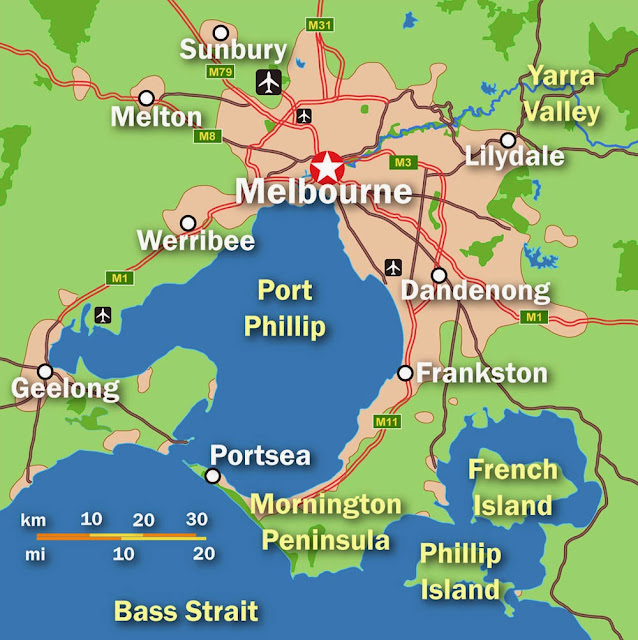 Mapa da grande Melbourne - Austrália