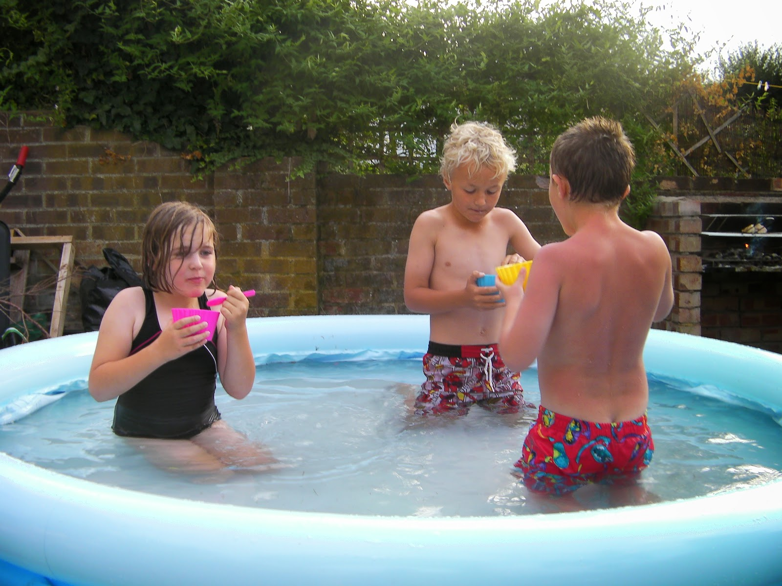 garden party for kids with ice cream and swimming pool