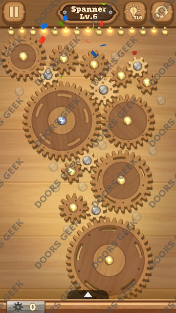 Fix it: Gear Puzzle [Spanner] Level 6 Solution, Cheats, Walkthrough for Android, iPhone, iPad and iPod