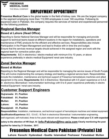 Fresenius Medical Care Pakistan Pvt Ltd  Jobs - Latest Career PK