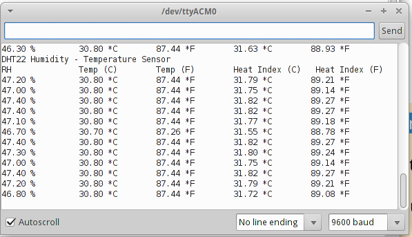 temperature and humidity sensor  dht22  in arduino uno