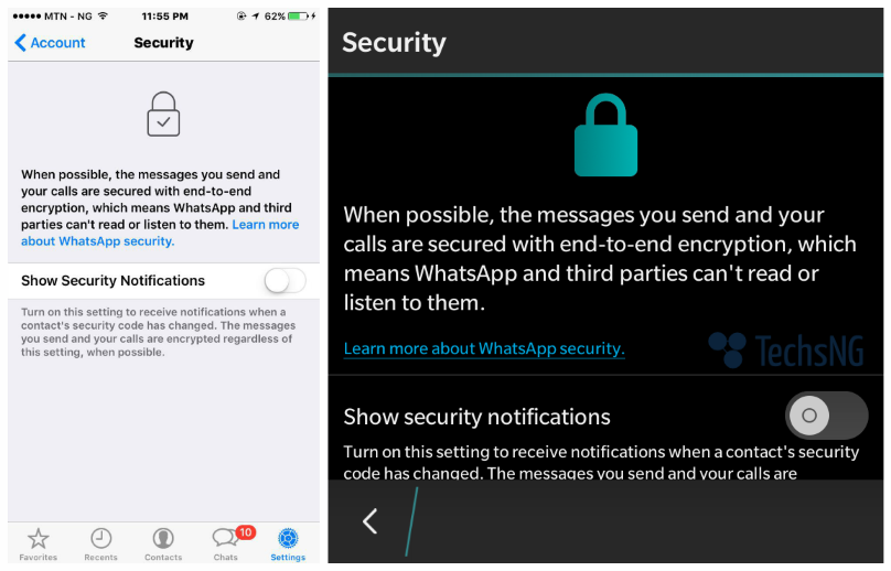 Whatsapp Has Upgraded Their Privacy/security by introducing End to End encryption price in nigeria