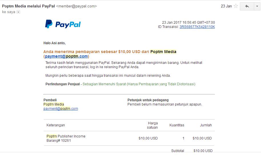 bukti pembayaran poptm lewat paypal