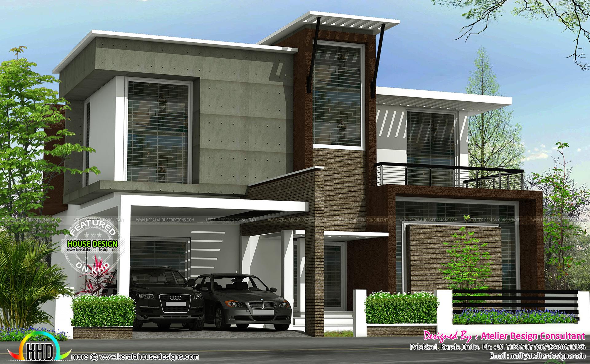 flat roof contemporary 2200 sq ft kerala home design bloglovin u0027